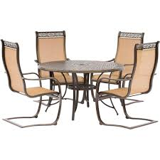 Round Patio Furniture Set by Hanover Manor 5 Piece Aluminum Round Outdoor Dining Set With