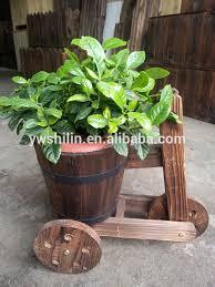 garden flower wooden barrow wooden flower pot flower box wood