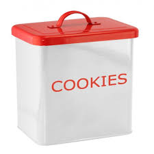 kitchen canister for cookies white and red color keeps food fresh