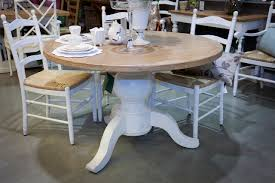 unique distressed round dining table in elegant look