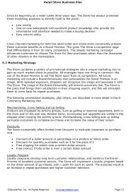 boutique business plan template retail store business plan excerpt
