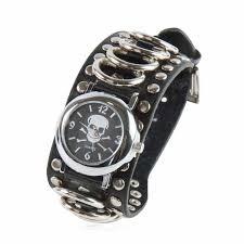 bracelet homme montre images Montre bracelet t te de mort en acier et cuir noir jpg