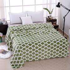super soft microfiber blanket green pattern
