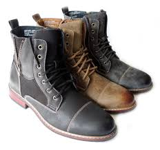 new fashion mens high ankle boots military combat style lace up