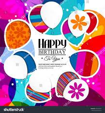 vector birthday card paper balloons style stock vector 302326490