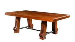 deco wood dining table with iron stretcher mecox gardens