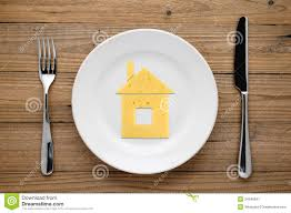 house made of cheese on plate fork and knife stock image image