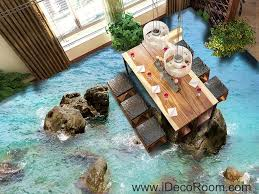 sea ocean rocks 00040 floor decals 3d wallpaper wall mural