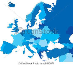 map europe vector color country map of europe blue map of the european vector