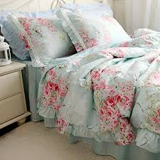 Amazon Duvet Sets Swanlake Shabby And Elegant New Blue Cotton Roses Bed Skirt Duvet