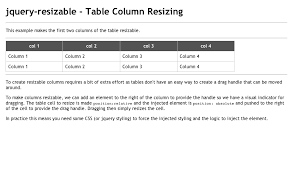 angularjs resizable table columns jquery resizable table column resizing