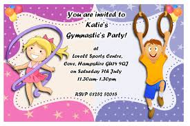 Party Invitation Card Template Birthday Invites Funny Kids Gymnastics Party Invitations Card