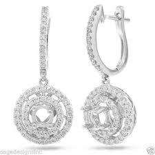 dangle diamond earrings 1 05ct 14k white gold semi mount halo leverback dangle