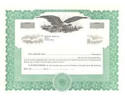 standard stock certificates samples