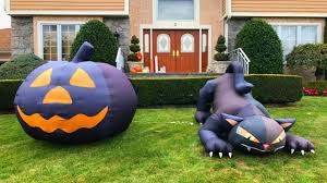 halloween 2017 decorations giant inflatable animated cat pumpkin