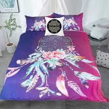 Australian Duvet Sizes Queen Size Quilt Bed Set Dream Catcher Feathers Purple U0026 Pink