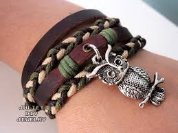 charm bracelet leather images Owl charm bracelet hemp woven leather bracelet on luulla jpg
