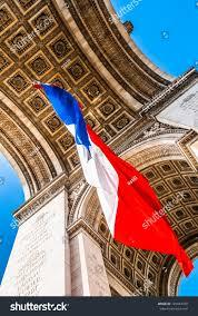 Paris Flag Arc Triumph French Flag Floating City Stock Photo 125043350