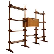 Room Divider Shelf by Solid Walnut And Brass Room Divider Shelving Wall Unit At 1stdibs