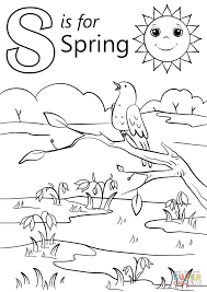 letter spring coloring free printable coloring pages