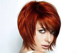 copper and brown sort hair styles short layered angled bob hairstyles with side bangs for straight