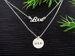 Monogrammed Sterling Silver Necklace Layering Necklace Set Of 2 Gold Or Silver Love Necklace Delicate