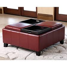 abbyson vincent red leather square ottoman with 4 trays free