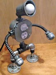 robot lamp with usb outlet by josephbarral on etsy pipe story
