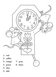 clock color number worksheet homeschool pinterest number