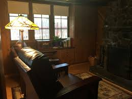 romantic private cabin nestled on the ro vrbo relaxing leather recliners for reading watching the fire