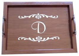 monogramed tray monogram wood serving tray with handles traditional serving