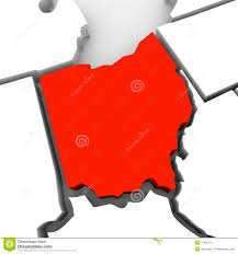 State Map Of Ohio by Ohio Red Abstract 3d State Map United States America Stock