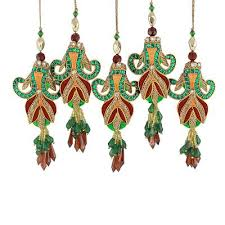 embroidered beaded ornaments from india set of 5 mughal tulips
