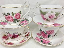 roses teacups set of 4 pink roses teacups and saucers 3 sets and 1 mismatch