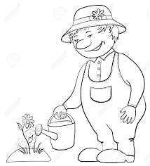 Drawing Of A Bed Man Gardener Waters A Bed With A Flower From A Watering Can