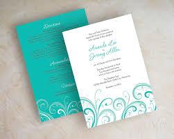 teal wedding invitation contemporary wedding invitation wedding