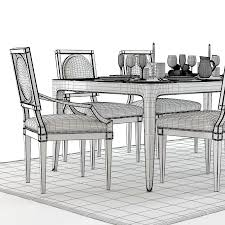 3d baker cheval table and louis chairs cgtrader