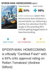 Funny Spiders Memes Of 2017 - spider man homecoming 2017 tomatometer want to see 9390 99 critic