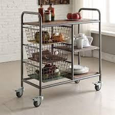 country rustic industrial kitchen cart black grey wood metal