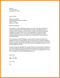 sample cover letter for scholarship example of renewal letter for