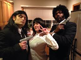 pulp fiction halloween costumes mia wallace with vince and jules