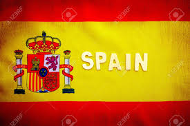 The Spain Flag Spanish Flag Yellow And Red Cloth With National Spain Emblem