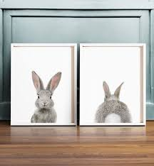 rabbit prints set of 2 bunny print printable wall the crown prints