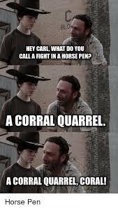 Hey Carl Meme - blo hey carl what do you call a fightina horse pen a corral quarrel