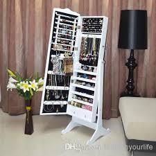 standing mirror jewelry cabinet wood jewelry box jewelry armoire cabinet storage organizer with full