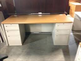 metal desk with laminate top office desk office desk used 6 metal with oak colored laminate top