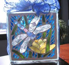 dragonfly mosaic art dragonfly with flower lighted glass block