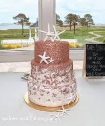 rose gold sequin wedding with a touch of beach picture of cake