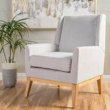 Beige Wingback Chair Chair Material Rubber Wood Padded Cushion Upholstery Material