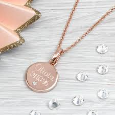 gold necklace fine jewelry images Rose gold and genuine diamond personalised pendant by hurleyburley jpg